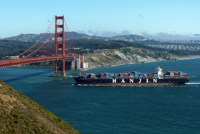 With globalization and growth of Chinese manufacturing, Chinese container ships are a common sight.