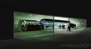 Hyperloop Station with Passengers Boarding