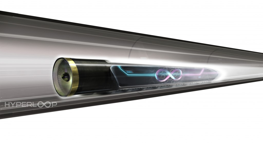 Hyperloop with pod in motion