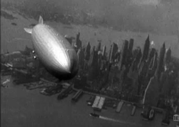 The Hindenburg over Manhattan, New York, May 6 1937. It crashed hours later in New Jersey.