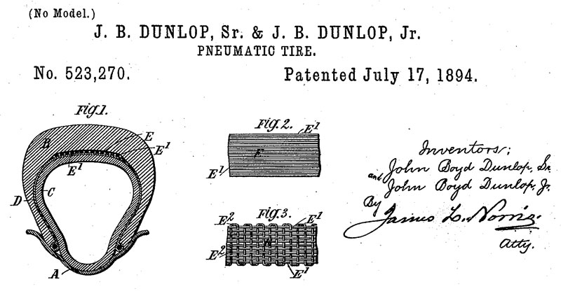 Patent for the Pneumatic Tire by John Dunlop, July 17, 1894.