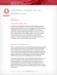 Control Towers Value Matrix 2016 - from Nucleus Research