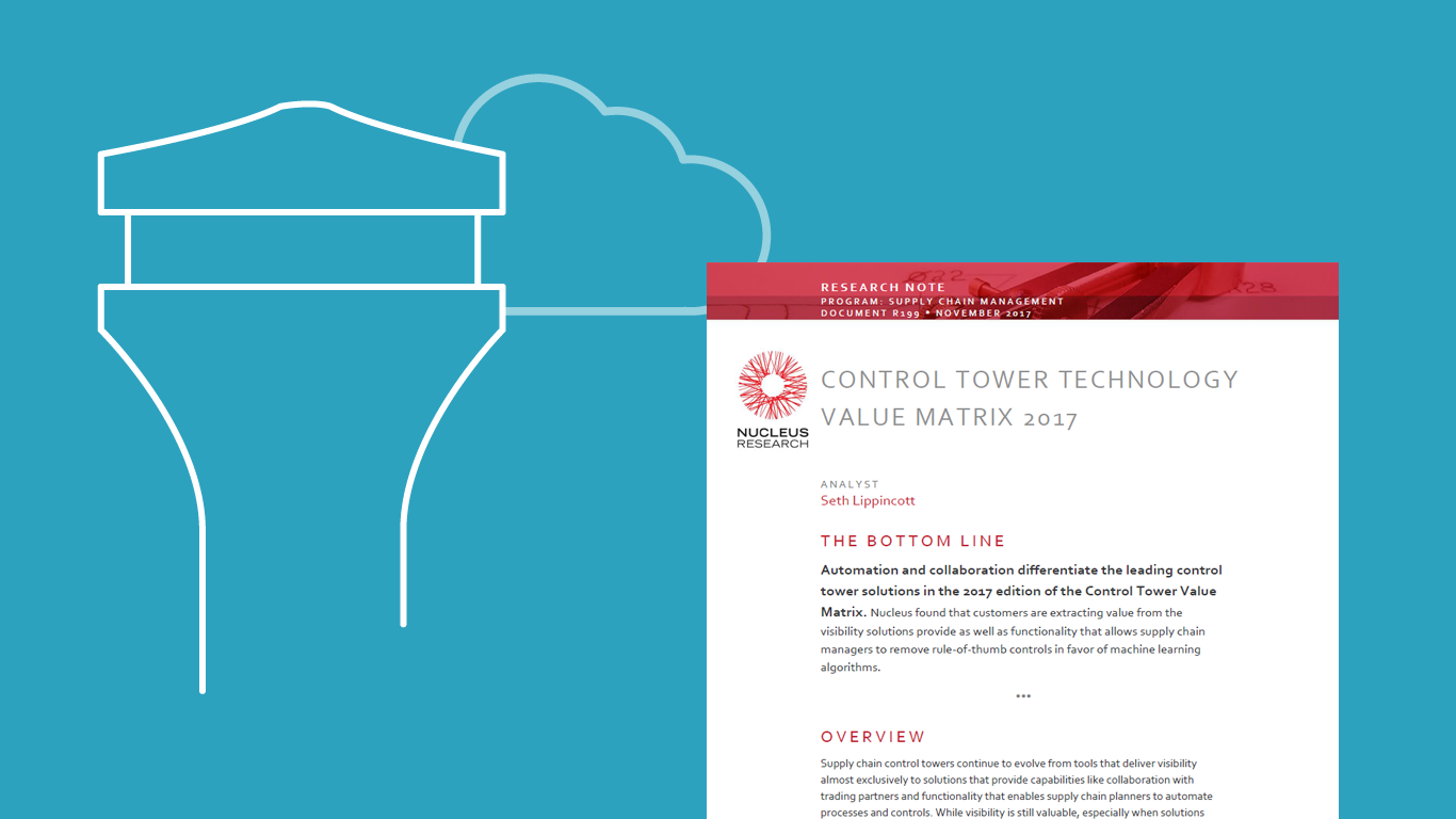 Review of Supply Chain Control Towers - Nucleus Research Control Tower Value Matrix