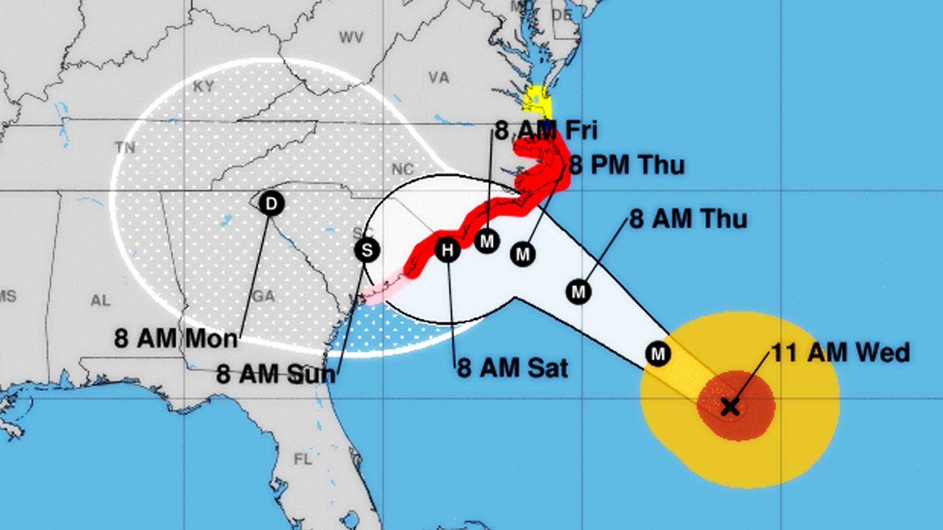 Hurricane Florence heads towards the Carolinas, Sept 12 2018.