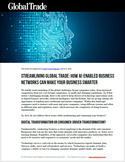 Streamlining Global Trade: AI-Enabled Business Networks